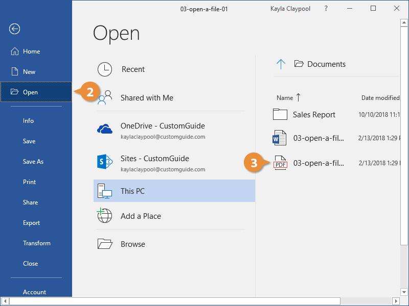 Open a PDF for Editin