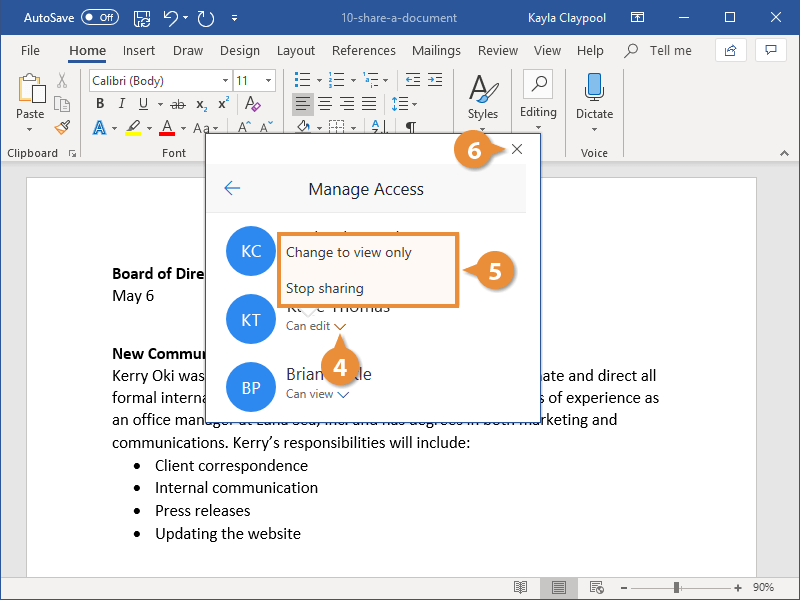 Manage Access to a Document