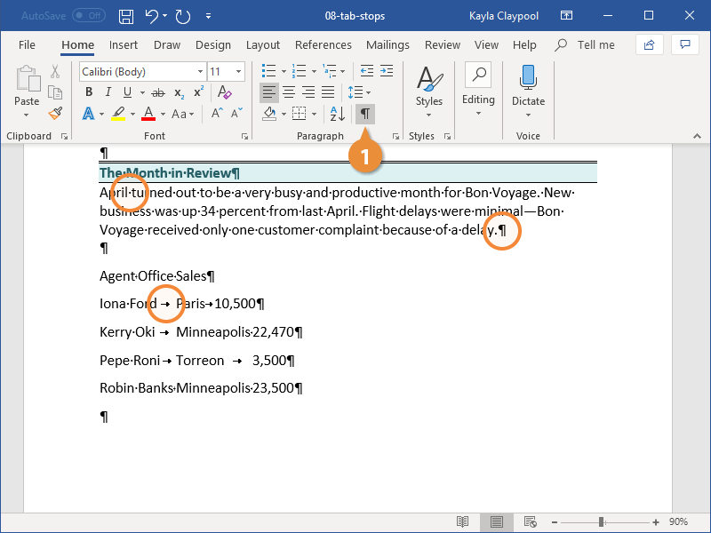 Enable Formatting Marks and the Ruler
