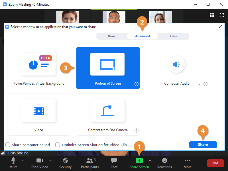 Share a Portion of your Screen