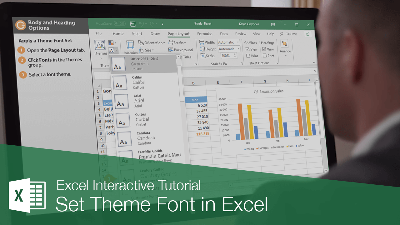 Set Theme Font in Excel