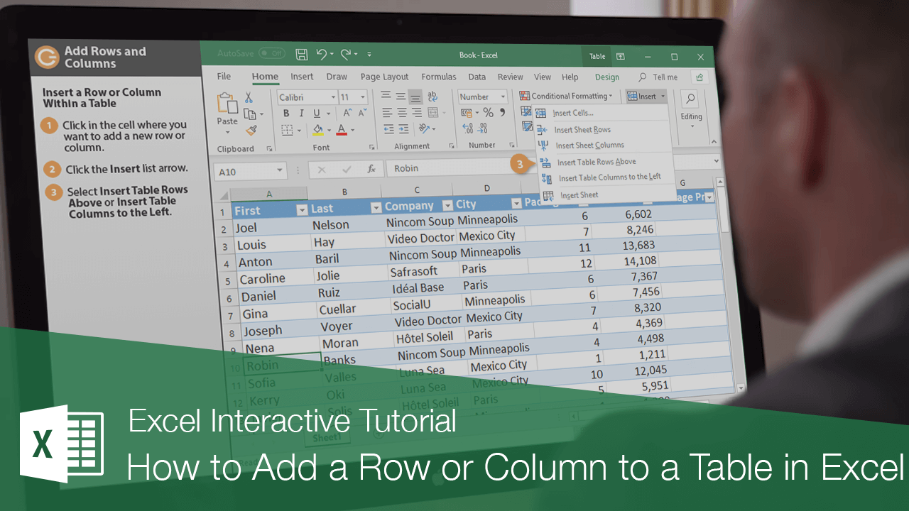 How to Add a Row or Column to a Table in Excel