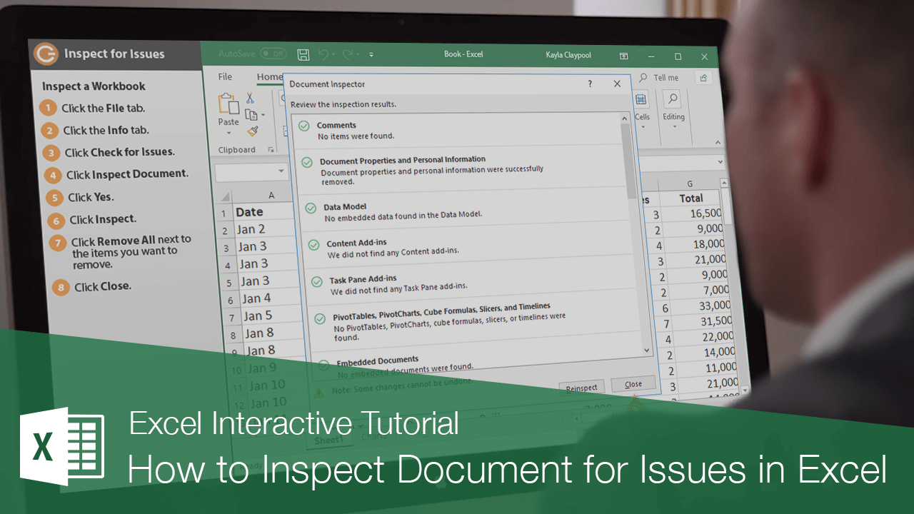 How to Inspect Document for Issues in Excel