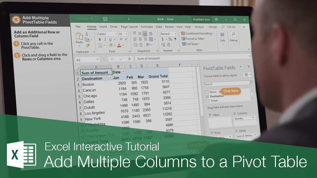 Add Multiple Columns to a Pivot Table
