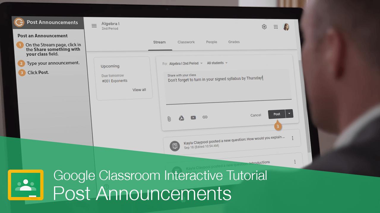 Post an Announcement in Google Classroom