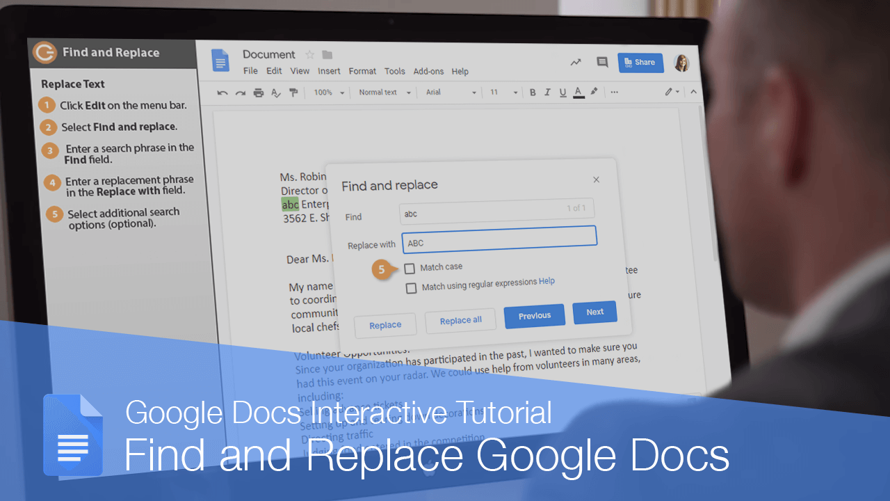 Find and Replace in Google Docs