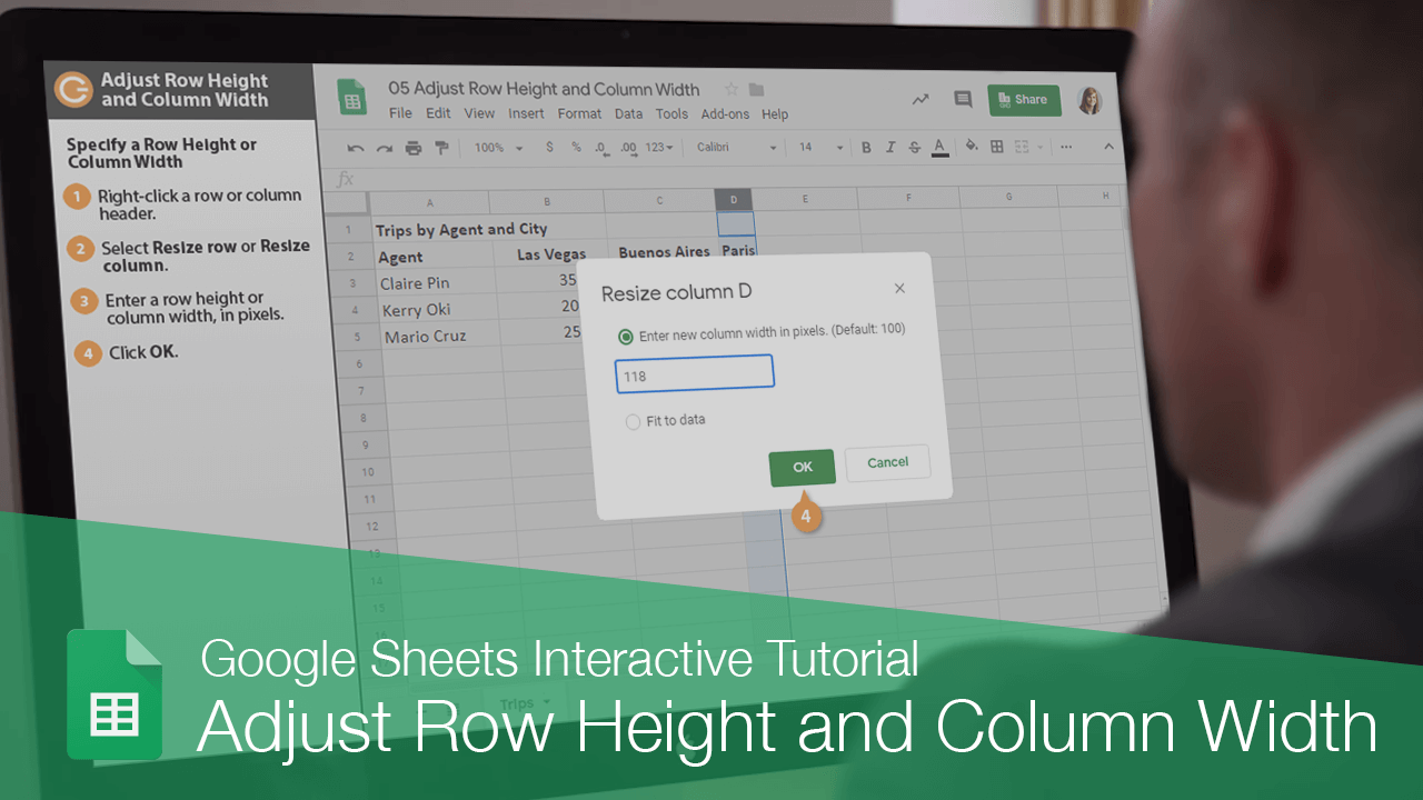 Adjust Row Height and Column Width