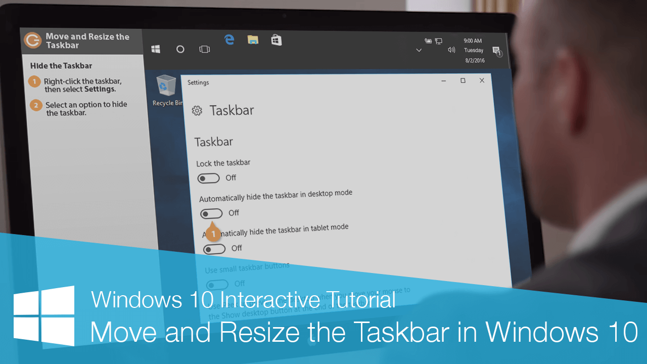 Move and Resize the Taskbar  in Windows 10