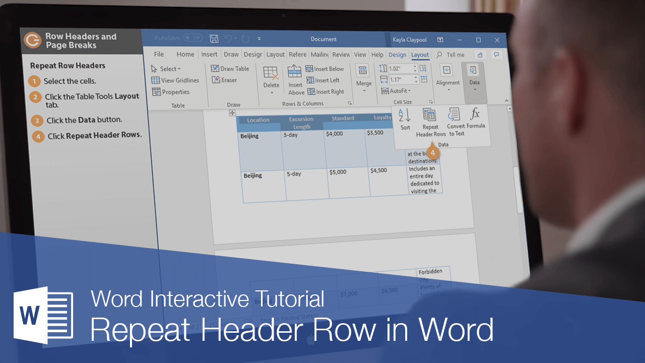 Repeat Header Row in Word