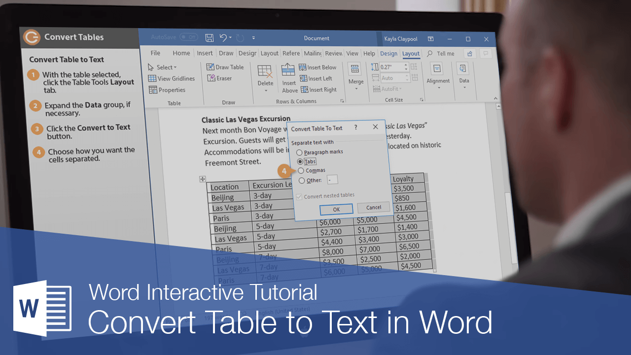 Convert Table to Text in Word