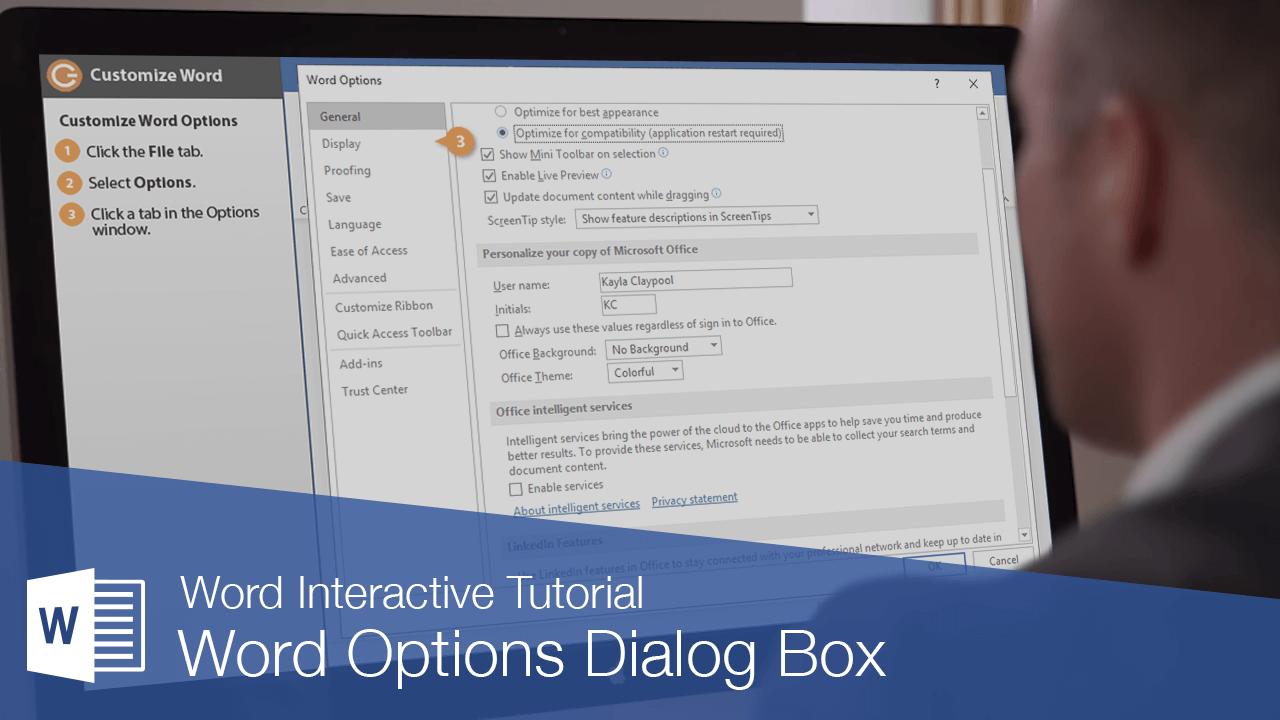 Word Options Dialog Box